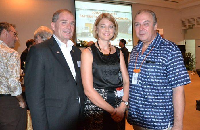 (L to R) Robert Rijnders, Amari Pattaya's GM., Kate Gerits, Holiday Inn Pattaya's General Manager, and Rene Pisters, GM of Thai Garden Resort and Hotel Pattaya.