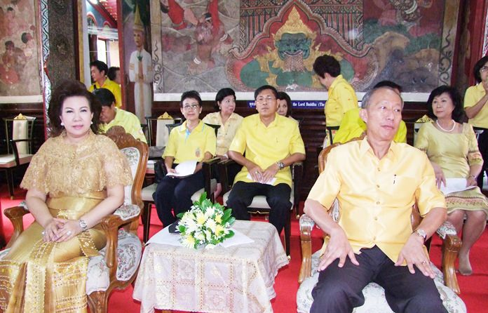 In Chonburi, Gov. Khomsan Ekachai led a ceremony in which monks chanted and the governor placed flowers before a portrait of HM the King.