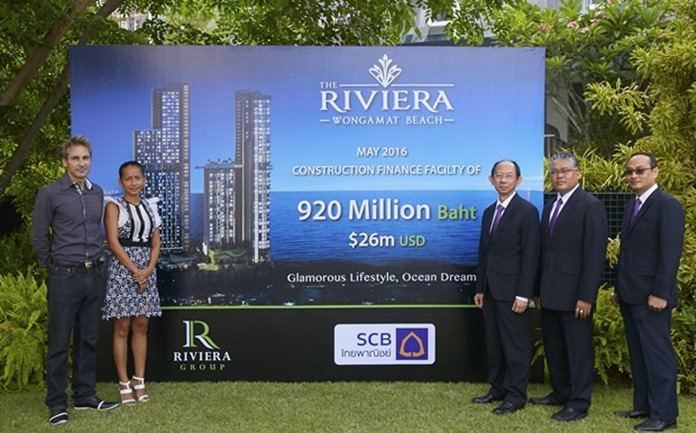 (L to R) Riviera Group Owner Winston Gale, Projects Director Sukanya Gale, FS.V.P. Sommai Ungsrithong, Chonburi Regional Manager Anol Eaksil, and Relationship Manager Khomsai Sangratsamee.