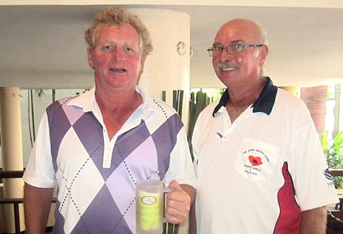 Monthly Mug winner Maurice Roberts (left) with John Anderson.