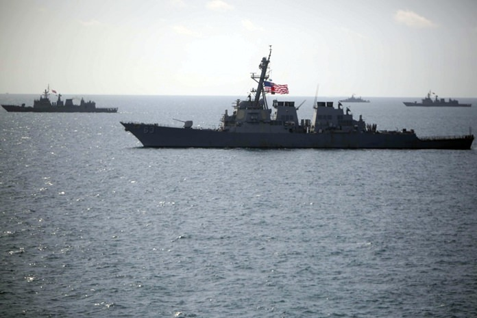 Gulf Of Thailand (June 20, 2016) - The USS Stethem (DDG 63) sails in formation with ships from the Royal Thai Navy during combined operations at sea in support of Cooperation Afloat Readiness and Training (CARAT) Thailand. CARAT is a series of annual maritime exercises between the U.S. Navy, U.S. Marine Corps and the armed forces of nine partner nations to include Bangladesh, Brunei, Cambodia, Indonesia, Malaysia, Singapore, the Philippines, Thailand and Timor-Leste. (U.S. Navy photo by Lance Cpl. Carl King Jr/. Released)