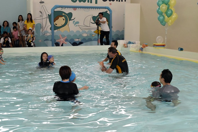 Babies and young kids were given their first swimming lessons to mark the opening of Manta Kids Swim Academy in Pattaya.