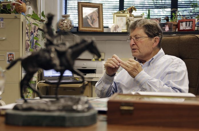Physics professor Joe Hamilton talks about the element that he and a team has discovered during an interview in his memorabilia-filled office at Vanderbilt University Wednesday, June 8, 2016, in Nashville, Tenn. (AP Photo/Mark Humphrey)