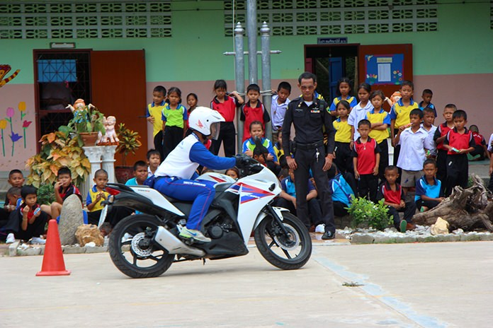 Students are given an up close look at how to ride a motorcycle safely.