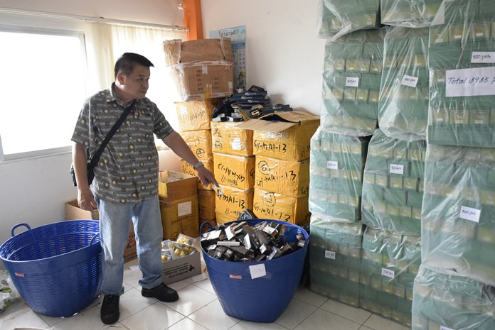 Chonburi police raided eight Pattaya-area storefronts, seizing tens of millions of baht in penis-enlargement gels, sexual-performance pills and other suspected illegal products.