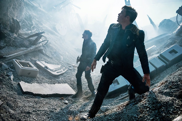 """In this image released by Paramount Pictures, Anton Yelchin (left) and Chris Pine appear in a scene from, """"Star Trek Beyond."""" (Kimberley French/Paramount Pictures via AP)"""