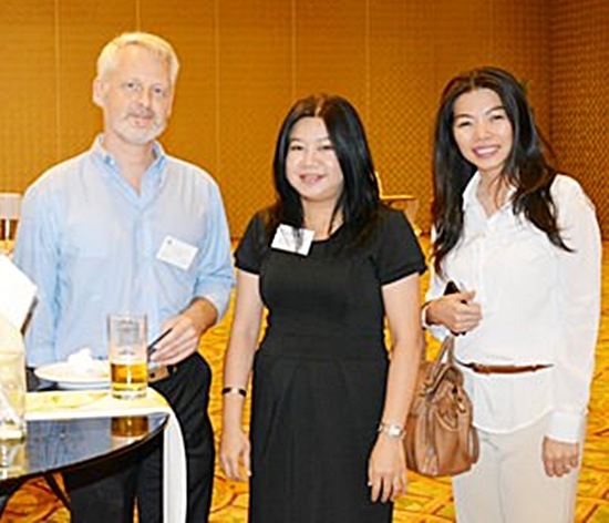 (L to R) Alain Deurwaerder, Vice President of the Belgian-Luxembourg/Thai Chamber of Commerce; Nannapat Sriwalai, Director of Talent and Organization for Grant Thornton; and Sareeya Sirichantrawong, Consultant/Career Transition for Grant Thornton.