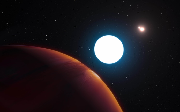 This image provided by the European Southern Observatory shows an artist's impression of the triple star system HD 131399 from close to the gas giant planet orbiting in the system. (L. Calçada/ESO via AP)