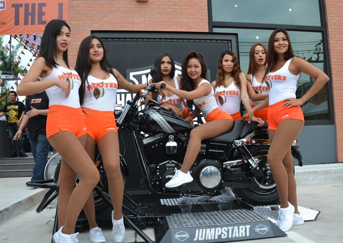 Hooter girls were being kept abreast of the happenings at the new Harley-Davidson dealership in Pattaya.