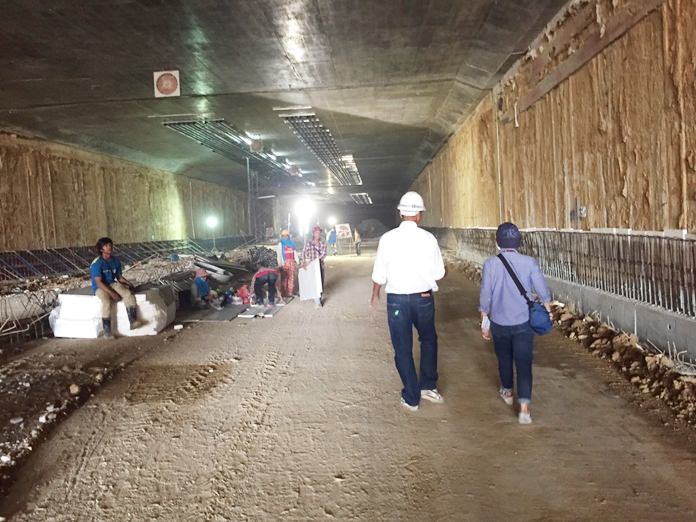 The Sukhumvit-Central Road bypass tunnel is nearly 60 percent complete, but contractors admit the job is taking longer than hoped and more delays are expected due to the rainy season. However, contractors said they were certain the work would be completed in the first quarter of next year.