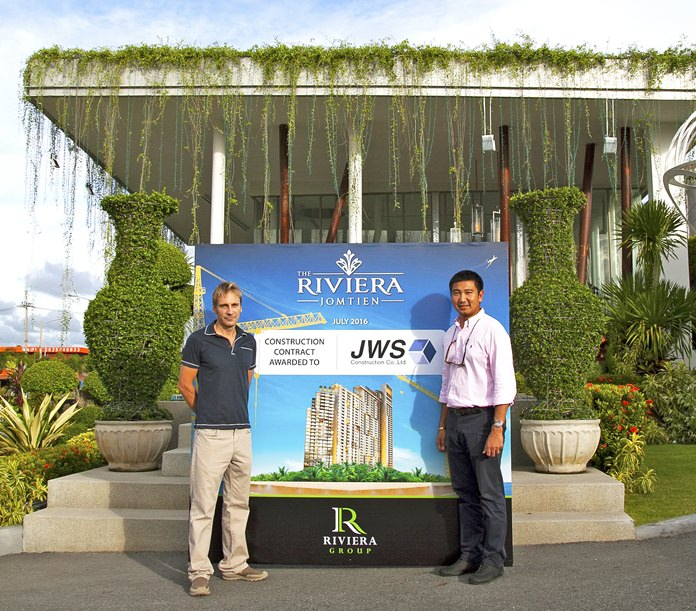 Winston Gale (left), owner of The Riviera Group, and Supasawat Siriplangkanon (right), owner of JWS Construction, have agreed to suitable terms for both parties and so have quickly moved to start main construction of the 46 story Landmark high-rise.