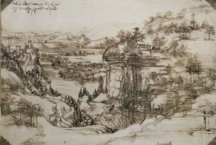 """Leonardo da Vinci's earliest known drawing titled """"Landscape Drawing for Santa Maria Della Nave"""". (Uffizi Gallery via AP)"""