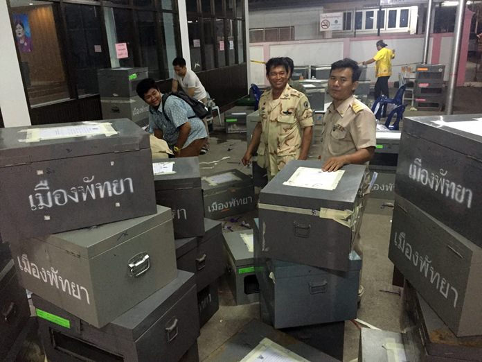 There were many ballot boxes filled in Banglamung.