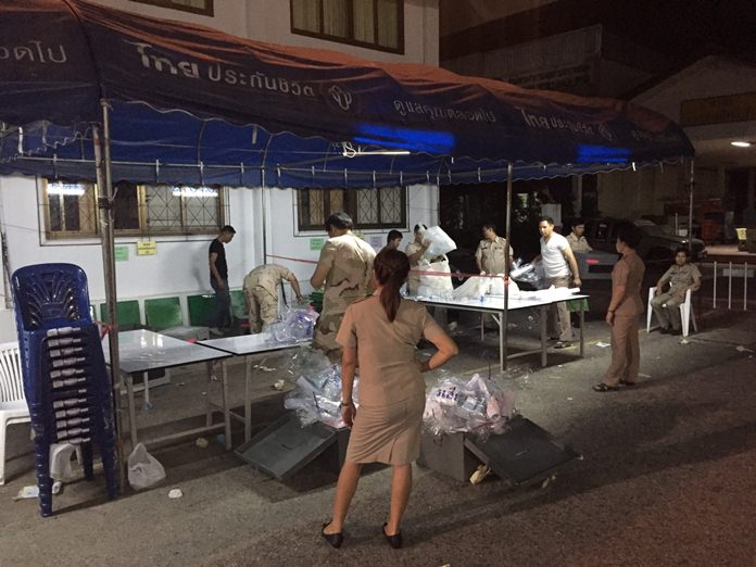 Vote counters worked well into the night in Banglamung.