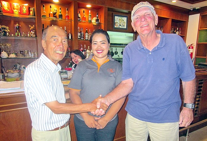 Mashi Kaneta (left) and George King (right) with one of BJ Holiday Lodge's finest.
