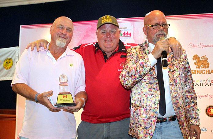"Andy Evan Memorial Best Sportsmanship Award winner Bob ""Scar"" Taylor (center) receives his trophy from Murray Kerr (left) and Mark Gorda (right)."