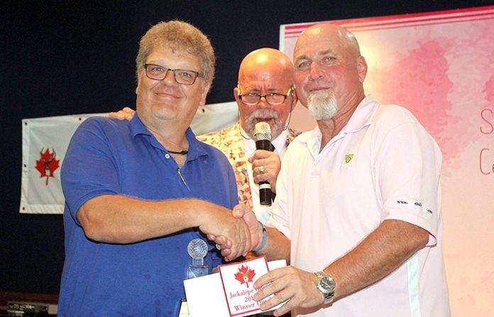 Bennie Hansen (left) won Division 3 with 38 Stableford points.