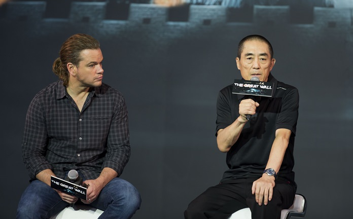 "Movie director Zhang Yimou (right) speaks next to actor Matt Damon during a news conference for their latest movie ""The Great Wall"", held at a hotel in Beijing, China. (AP Photo/Andy Wong, File)"