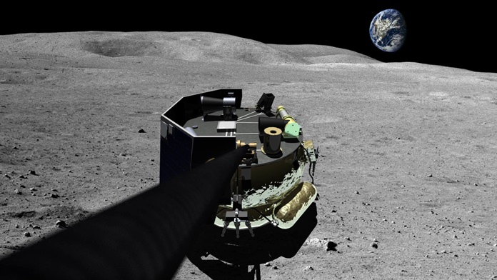 This image provided by Moon Express on Wednesday, Aug. 3, 2015 shows an illustration of the company's landing vehicle on the surface of Earth's moon. On Wednesday, the U.S. government gave permission to the private Florida company to fly a spaceship beyond Earth's orbit and land on the moon. The washing machine-sized vehicle would take hops across the lunar surface. (Moon Express via AP)