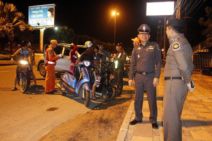 Highway and tourist police fanned out across Pattaya following a string of bombings in the South, setting up checkpoints to search for weapons and drugs.