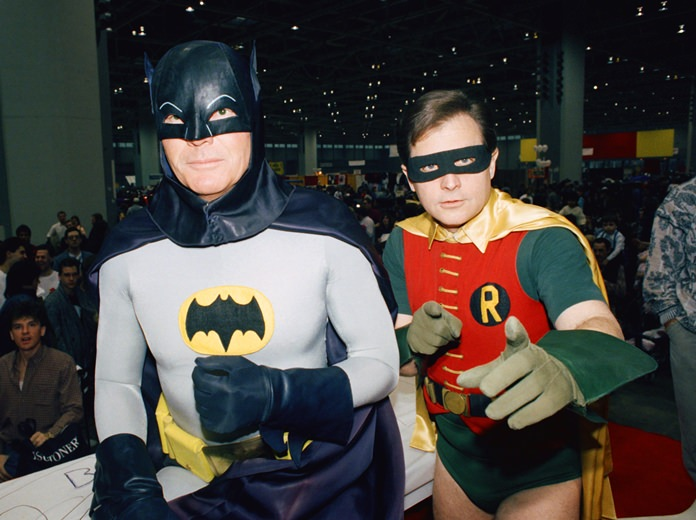 "Actors Adam West (left) and Burt Ward (right) will be reprising their roles as Batman and Robin in an animated film, ""Batman: Return of the Caped Crusaders,"" due to be released on Nov. 1. (AP Photo/Mark Elias)"