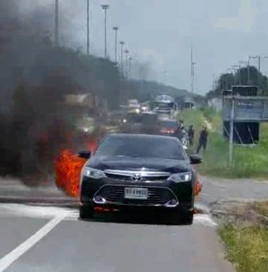 Five people, including three children, narrowly escaped injury after their car burst into flames on Highway 36 in Pong.