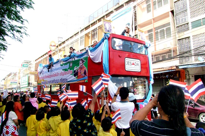 Gold medalist Sukanya Srisurat takes part in an open-top bus parade through the streets of Chonburi following her success at the Olympic Games in Rio.