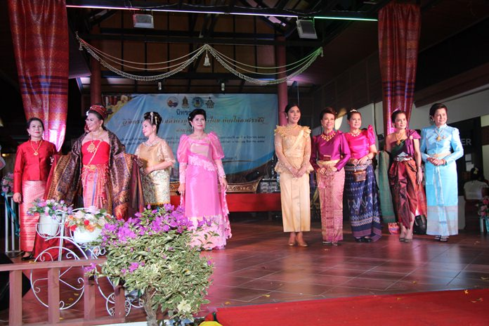 Members of the Women's Development Club Pattaya dressed up in Thai outfits to take part in old style fashion show to showcase the arts and culture of Thailand.