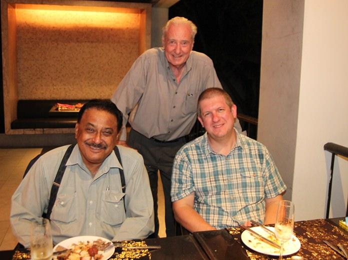(L to R) Pattaya Mail MD Peter Malhotra, Dr. Iain Corness, and Dr Dan Moore, Headmaster of Bromsgrove International School.