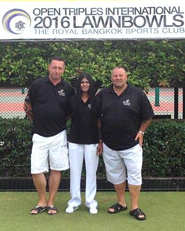 From left: Ian Riches, Nina Riches and Keith Fortt at the Royal Bangkok Sports Club.