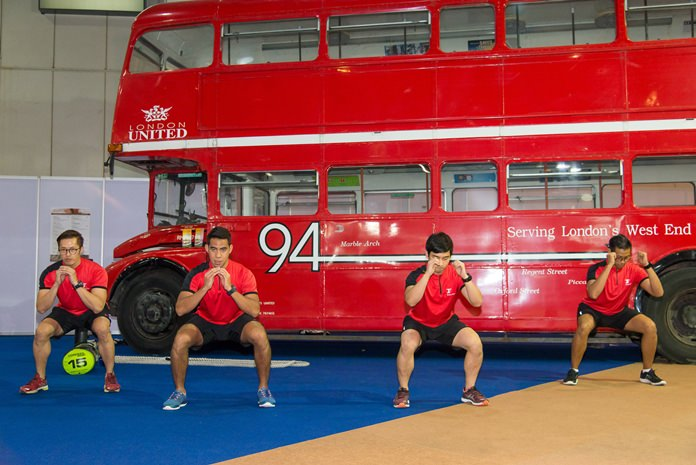 The Fitness First team inspire visitors to Thai-UK 2016 with an energetic routine in front of the London Routemaster bus. The classic London Routemaster bus is from Jesada Technik Museum in Nakhon Pathom. The first Routemasters entered service with London Transport in February 1956 and the last was built in 1968. They were withdrawn from regular service in December 2005. The number 94 at Thai-UK 2016 originally ran from Acton Green to Trafalgar Square.