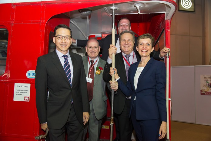 BCCT takes the bus. Hold tight shouts BCCT Chairman Simon Matthews (2nd right) with from left Boyd Chongphaisal of GSK, Graham MacDonald of Macallan Insurance Brokers, BCCT Executive Director Greg Watkins and Heather Suksem of PCS/OCS.