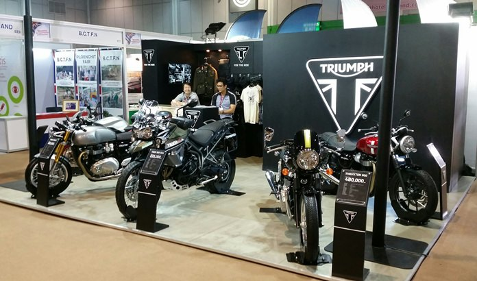Triumph Motorcycles displayed five of their latest models at Thai-UK 2016. Triumph Motorcycles Ltd is the largest British motorcycle manufacturer with half of its six factories worldwide located on the Amata Nakorn Industrial Estate in Chonburi employing more than 1,000 staff.