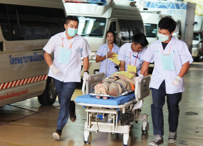 Pattaya Hospital staff practiced evacuating patients in case of a fire.