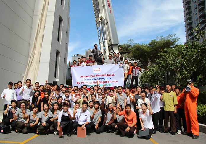 More than 200 employees took part in the Sept. 5 training conducted by the Pattaya Disaster Prevention & Mitigation Department to educate workers on evacuations from high-rise buildings.