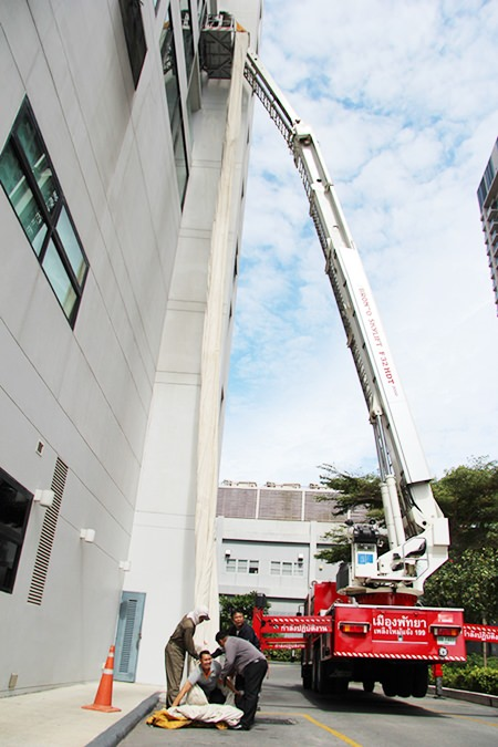 The training program included using a canvas chute for quick evacuation from the seventh floor of the Ocean Tower.
