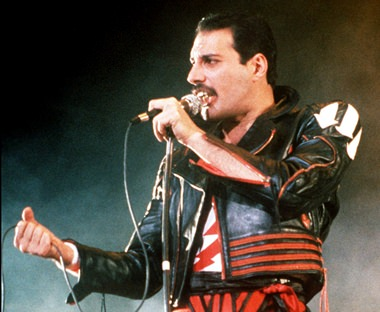 Freddie Mercury of the rock group Queen is shown in this 1985 file photo. (AP Photo/Gill Allen)