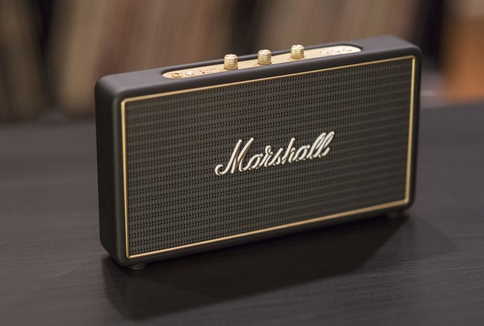 This Tuesday, Aug. 23, 2016, photo shows the Marshall Stockwell Bluetooth speaker, in Decatur, Ga. Separate knurled knobs for volume, bass and treble are recessed into the speaker and pop up at the touch of a finger. The Stockwell also has an input port for devices without Bluetooth. (AP Photo/ Ron Harris)