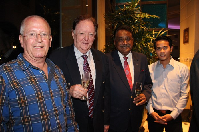 (l-r) Richard Plank visiting IT specialist from Cape Town, Allan Riddell - Consultant to the board of the South African-Thai Chamber of Commerce, Peter Malhotra MD - Pattaya Mail and Pasit Foobunma Director - SATCC enjoy pre-dinner cocktails.
