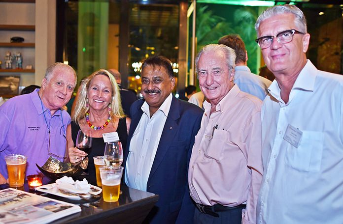 James Howard, sales manager at the Oil Field Equipment Services Co., Ltd., Rosanne Diamente from WWM, Peter Malhotra, managing director at Pattaya Mail Media Group, Dr. Iain Corness, and Joachim K.P. Klemm, international business and marketing at Green Orange Property Thailand.