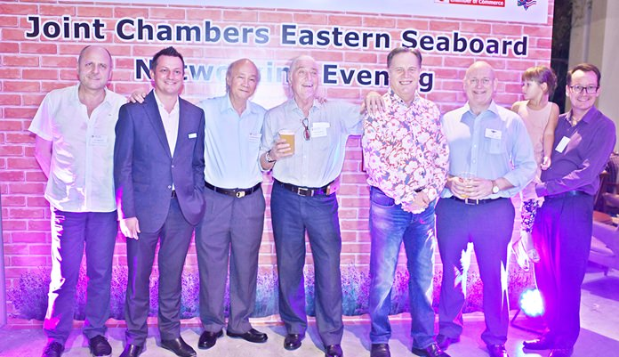 Dr. Roland Wein, executive director at GTCC, Daniel Boswell, F&B director at Holiday Inn Pattaya, Dr. Sutharm Valaisathien, president of the BeLu-Thai Chamber of Commerce, Helmut Buchberger, ABC Asian Business Consulting, Simon Matthews from Manpower, Graham Macdonald MBE, chairman of the SATCC and Hans van den Born, executive director at NTCC.
