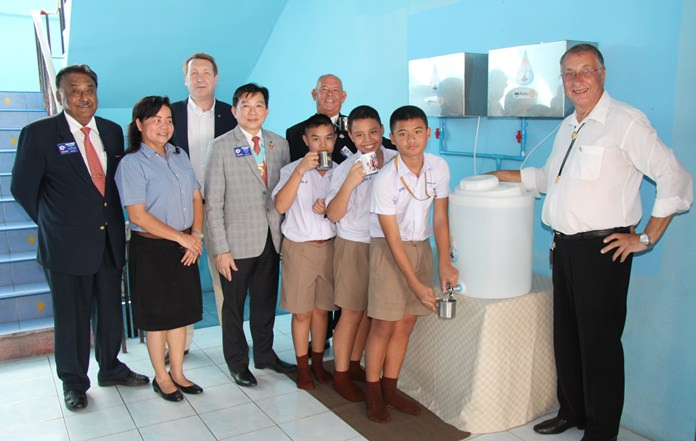 Students enjoy taking their first drinks of clean water from the new filters.