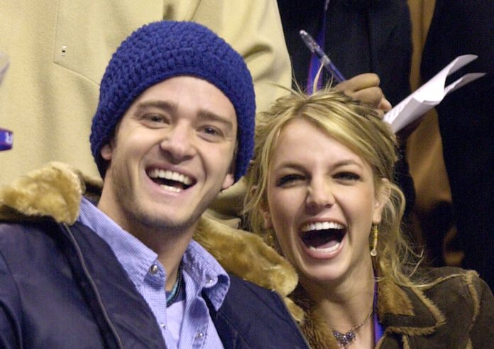 Justin Timberlake and Britney Spears are shown together in this Feb. 10, 2002, file photo. (AP Photo/Chris Gardner)