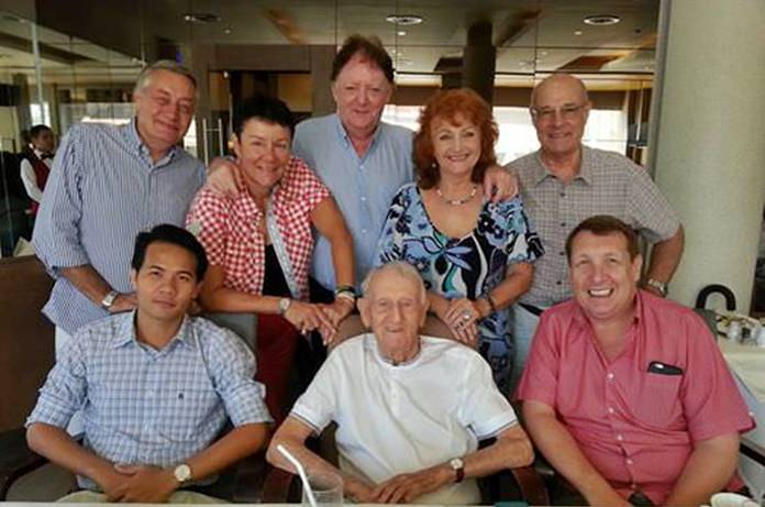 Surprise lunch at Bruno's with (front row from left) Pasit Foobunma, Archie Dunlop and Brian Songhurst. Second row from left: Peter Barnwell, Magdalena Rittinghaus, Allan Riddell, Elfi Seitz and Tony Portman.
