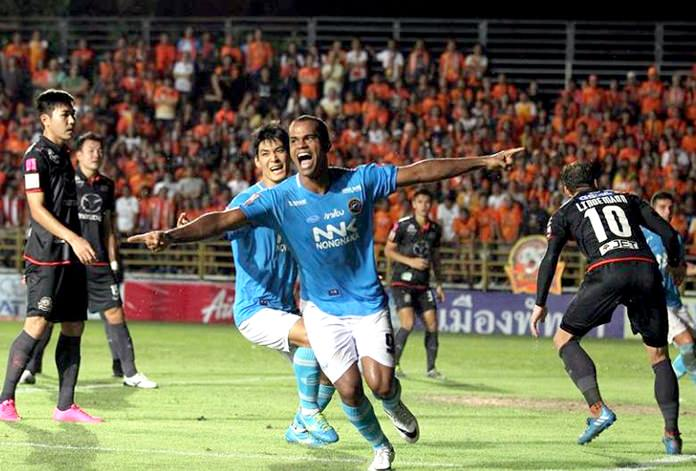 Pattaya NNK United's Junior Negrao (9) celebrates after scoring his second goal of the match against Nakhonratchasima F.C. at the Nonprue Stadium in Pattaya, Sunday, Sept. 25. (Photo courtesy Pattaya NNK United)