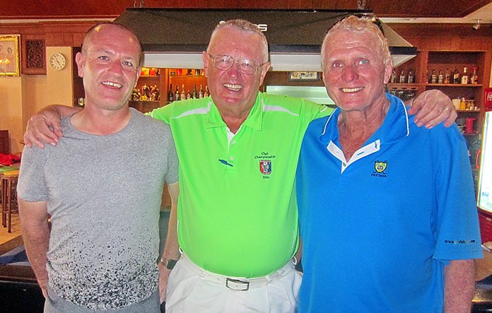 Dick Warberg (centre) with John Bland and Don Carmody.