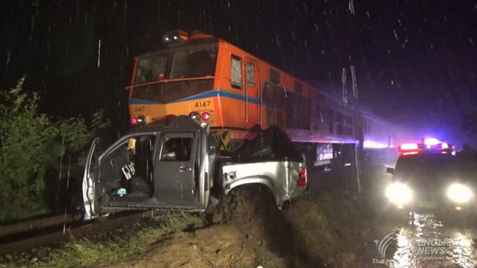 Four killed when train rammed into a pick-up truck on railway crossing