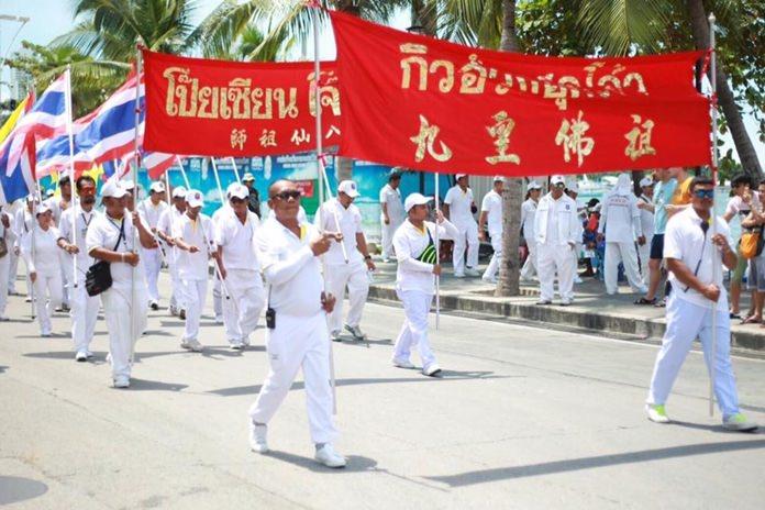The Pattaya parade started at Bali Hai Pier and finished at the Sawang Boriboon headquarters in Naklua.