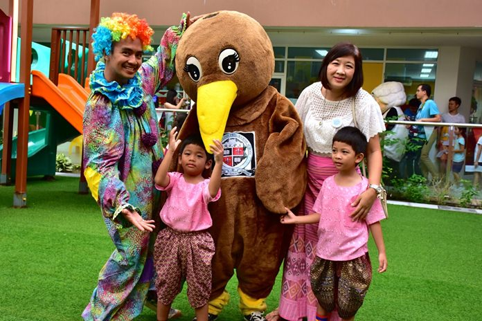 REPS family with mascot and clown.