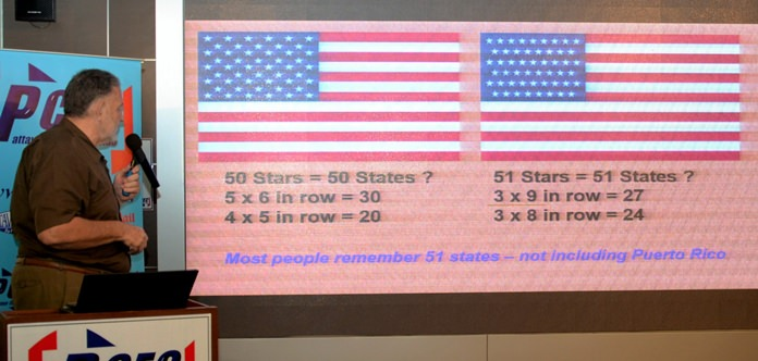 "Corrie Lamprecht shows two depictions of the USA flag - one with 50 stars, the other with 51. This was one of several comparisons he used to explain the ""Mandela Effect"" to the PCEC."